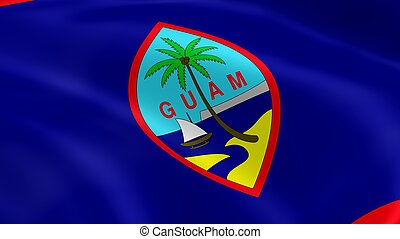 Guamanian flag in the wind