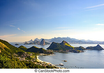Guanabara bay and hills - View of Guanabara Bay, Sugar Loaf...
