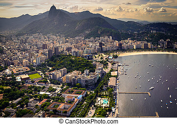 Guanabara Bay - Buildings at the waterfront, Guanabara Bay,...