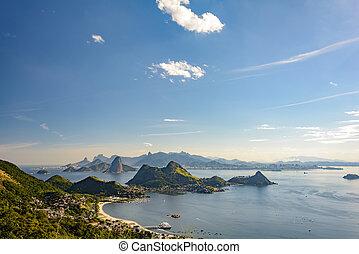guanabara, colinas, bahía