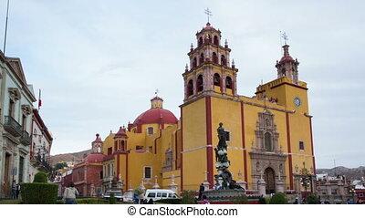 guanajuato, nuit, tourner, mexique, timelapse, iconique, jaune, église, jour
