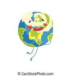 guance, carino, divertente, globo, carattere, illustrazione, pianeta, vettore, terra, cuori, cartone animato, rosso, emoji