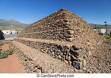 guanches, de, canari, étape, tenerife, pyramides, îles, guimar, espagne