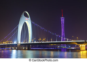 Guangdong main city, Guangzhou night view in China.