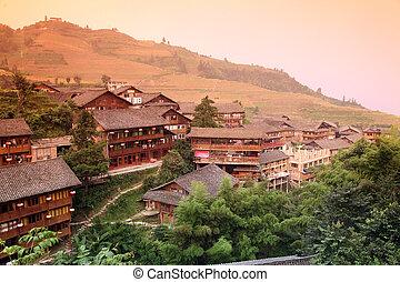 guangxi, campos, casa de madera, miao, tradición, mt,...