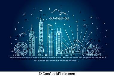 guangzhou, イラスト, 線である, ベクトル, スタイル, スカイライン