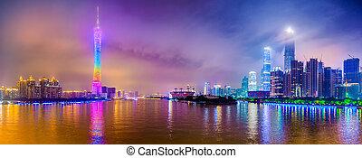 guangzhou, 都市, パノラマ, スカイライン, 真珠, river., 陶磁器