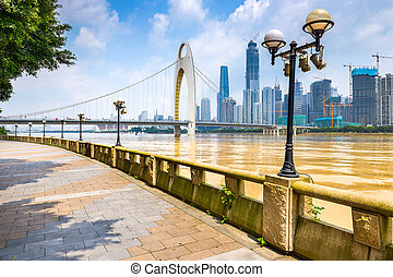 Guangzhou, China cityscape from the promenade.