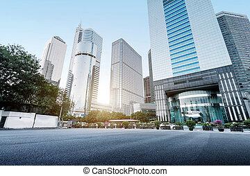 guangzhou, en ville, porcelaine, gratte-ciel, secteur