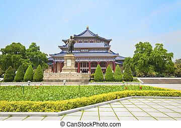 Guangzhou, monumento conmemorativo, sol, yat-sen, China,...