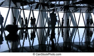 Tourists photograph inside Sightseeing TV Tower Canton -...