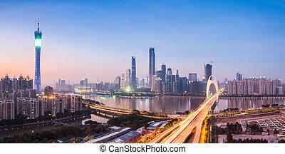 guangzhou panorama in nightfall - panoramic view of...