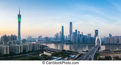 panoramic view of guangzhou skyline at dusk