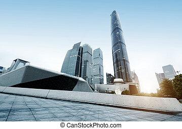 guangzhou, stadtzentrum, porzellan, wolkenkratzer, bereich