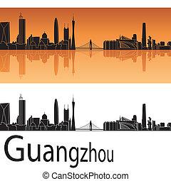guangzhou, sylwetka na tle nieba, w, pomarańczowe tło
