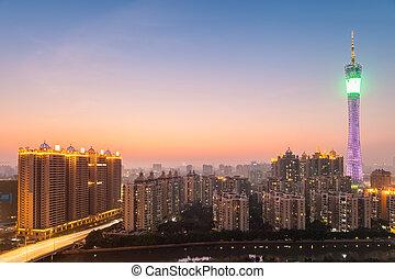 guangzhou tower in nightfall , beautiful the southern...