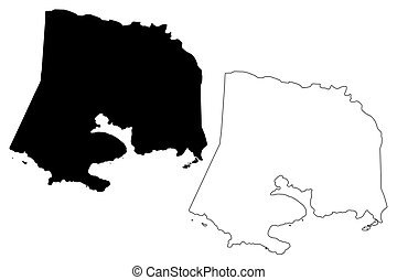 Guanica municipality (Commonwealth of Puerto Rico, Porto Rico, PR, Unincorporated territories of the United States) map vector illustration, scribble sketch Guanica map