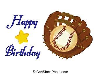 guante, acción, pelota, feliz, ilustración, beisball, ...