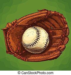 guante, grabado, pelota, ilustración, beisball