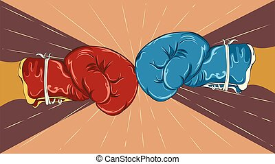 guantes, boxeo, rojo, azul