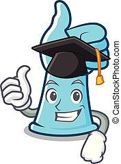 guantes de goma, carácter, caricatura, graduación
