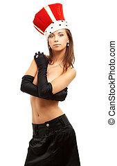 guantes, niña, corona, negro rojo