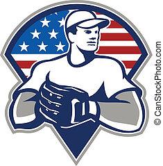 guantes, norteamericano, cántaro, retro, beisball