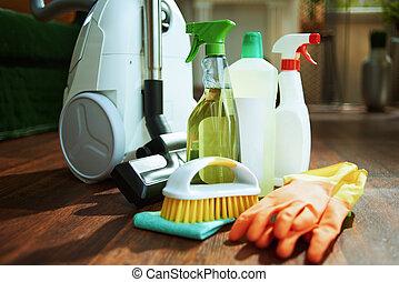 guantes, vacío, limpieza, botellas, caucho, limpiador, cepillo