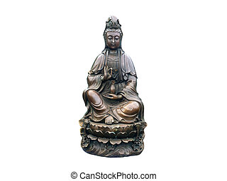 Guanyin brass on isolated