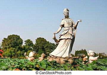 Guanyin Statue in the park (Nanjing, China)