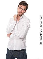 guapo, adulto masculino joven, aislado, blanco