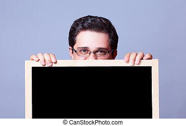 guapo, blackboard., hombre