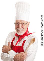 guapo, chef, -, fondo blanco