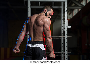 guapo, culturista, elaboración, lado, tríceps, postura