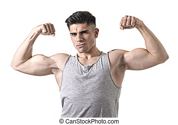 guapo, deporte, hombre, posar, con, fuerte, desnudo, torso, mirar, fresco, desafiante, ataque, cuerpo, concepto