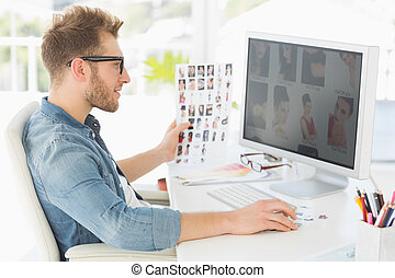 guapo, el suyo, trabajando, redactor, computadora
