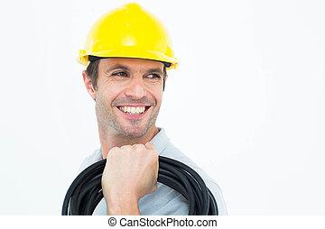 guapo, electricista, proceso de llevar, alambres