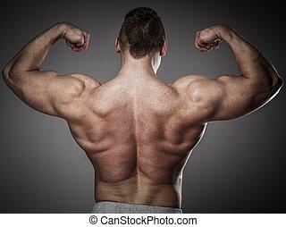 guapo, hombre, con, muscular, torso, posar