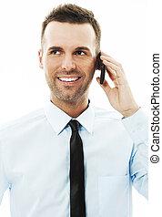 guapo, hombre de negocios, hablar celular