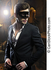 guapo, hombre, en, máscara