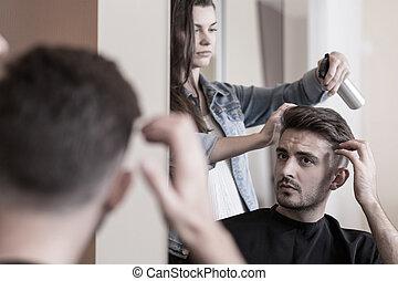 guapo, hombre, visitar, un, peluquero