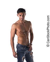 guapo, inclinación, shirtless, hombre, en, vaqueros