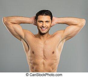 guapo, joven, con, desnudo, torso
