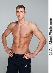guapo, joven, con, muscular, torso