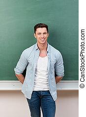 guapo, joven, estudiante masculino