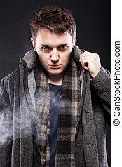guapo, joven, humo, hombre