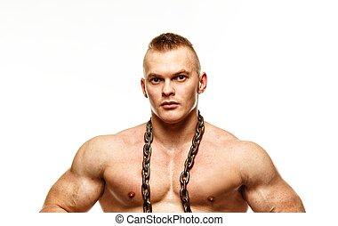 guapo, joven, muscular, hombre, con, cadena