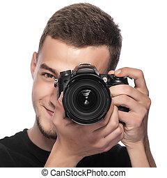 guapo, joven, tenencia, un, dslr, cámara.