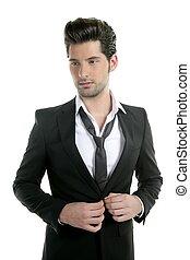 guapo, joven, traje, casual, corbata, traje