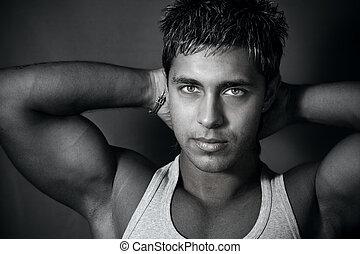 guapo, muscular, hombre